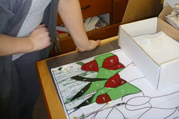 Leaded stained glass window being made by one of our students on a regular course