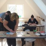 Covid secure fused glass class in progress