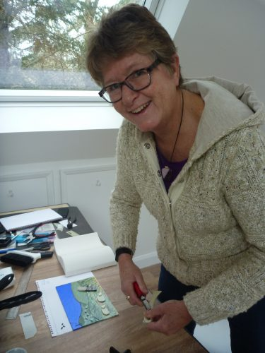 Making a picture from Bullseye fusing glass on a creative retreat day