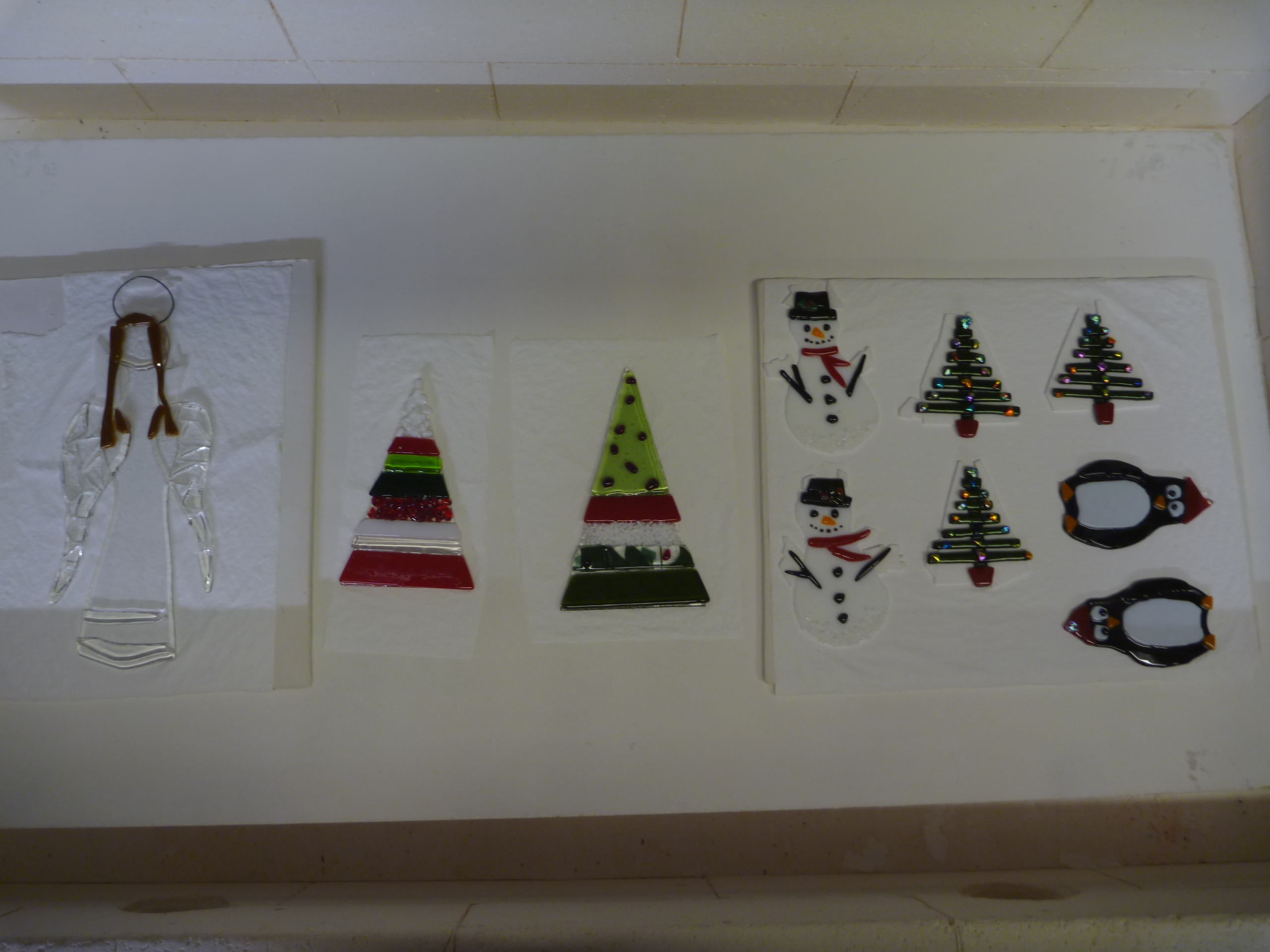 on our Covid secure glass fusing for Christmas course, the class's creations are in the kiln