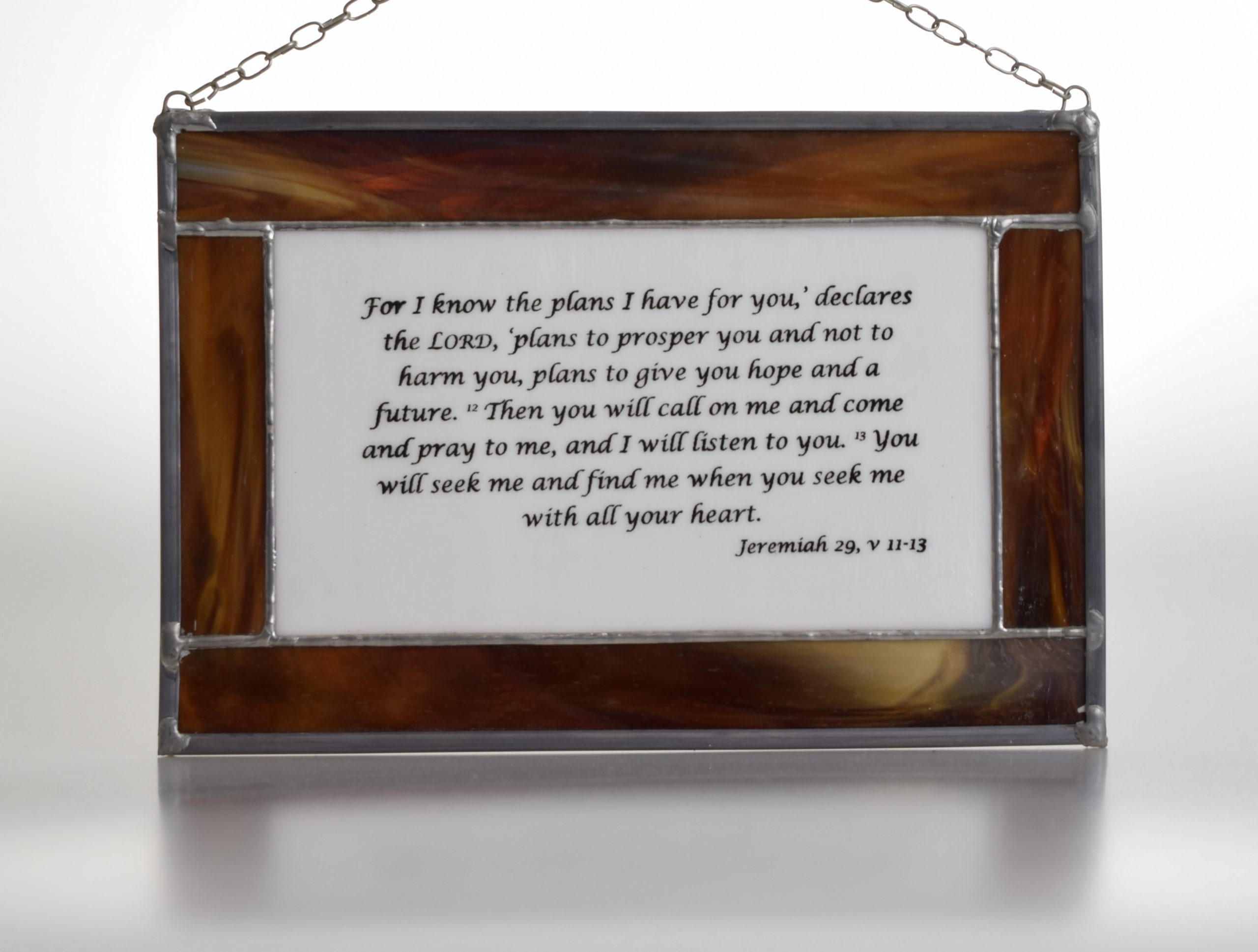 Stained glass panel featuring bible verse from Jeremiah 29, v 11-13