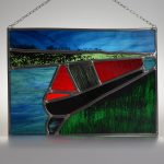 Peaceful Evening Mooring narrowboat stained glass panel