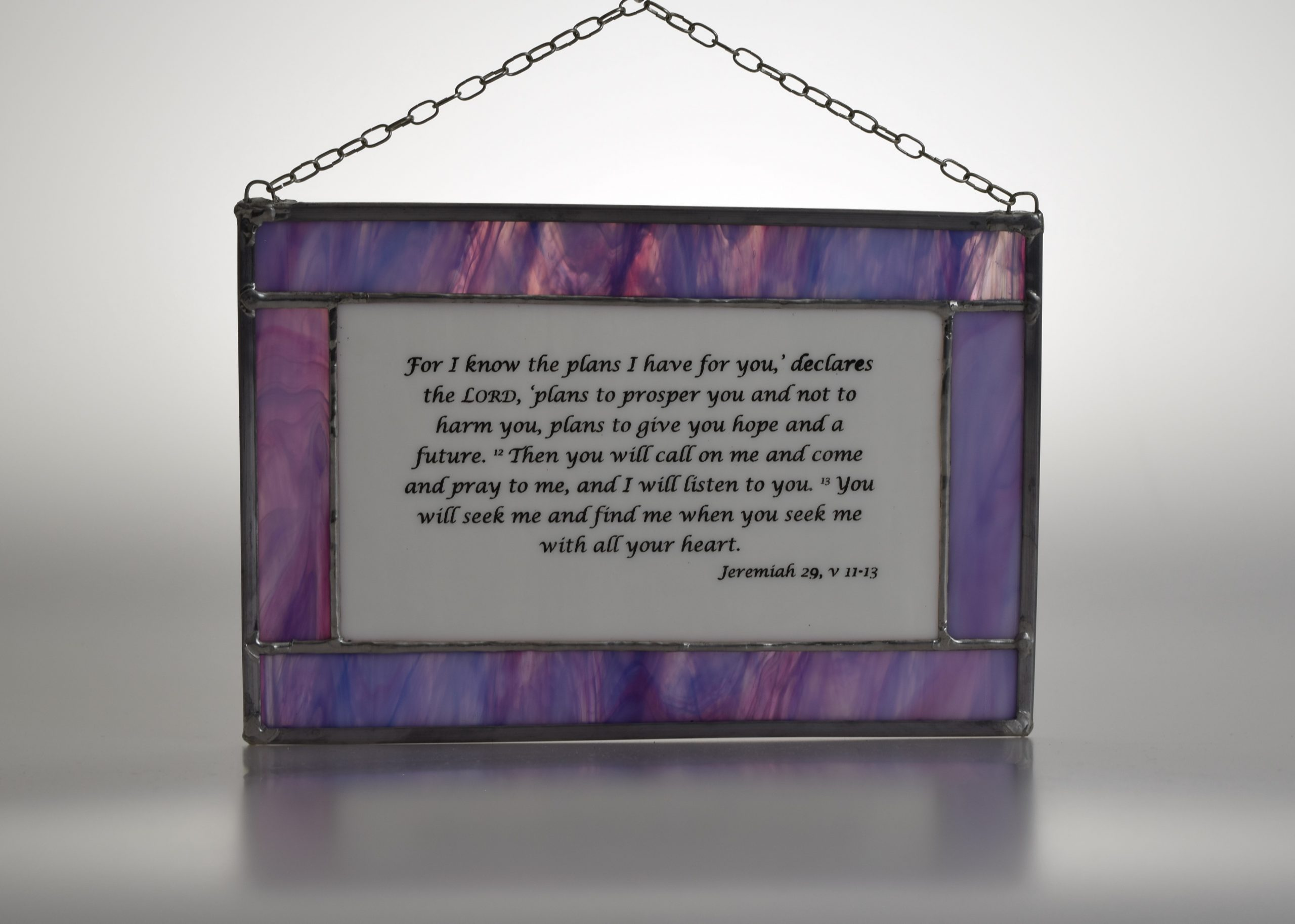 """""""For I know the plans I have for you"""" traditional leaded stained glass panel in white and lilac glass complete with hanging chain"""