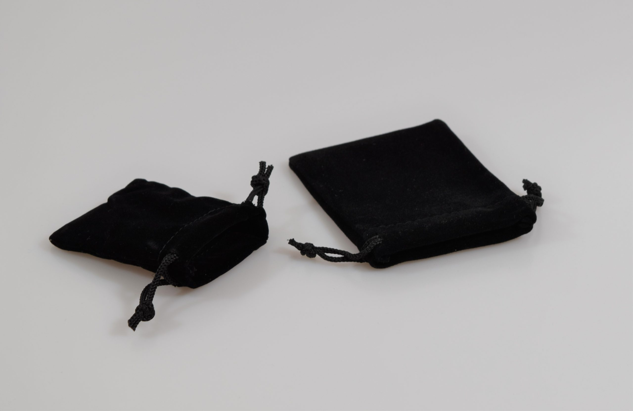 Black velour drawstring pouches / velour pull cord bags